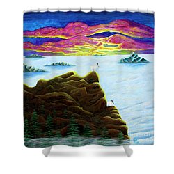 Goats On Dragons Shower Curtain