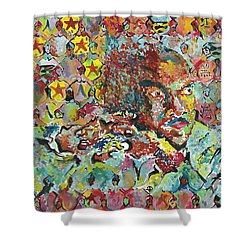 God Bless The Red, Black And Blue- Sombra De Arreguin Shower Curtain
