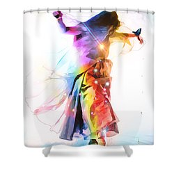 God Colors Shower Curtain by Dolores Develde