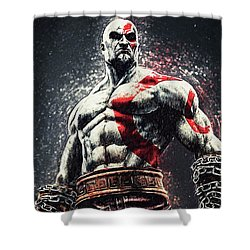 God Of War - Kratos Shower Curtain by Taylan Apukovska