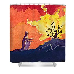 God Speaks To Moses From The Burning Bush Shower Curtain by Elizabeth Wang