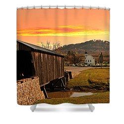 Goddard White Bridge And Church  Shower Curtain