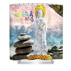 Shower Curtain featuring the mixed media Goddess Of Mercy by Lita Kelley