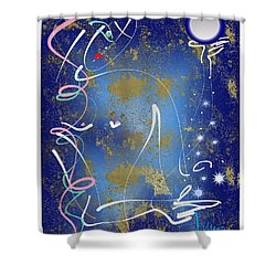 Shower Curtain featuring the mixed media Goddess Of The Night Sky by Larry Talley