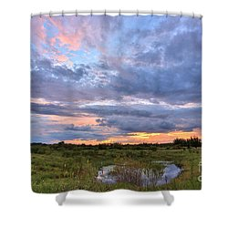 God's Painting Shower Curtain by Mina Isaac
