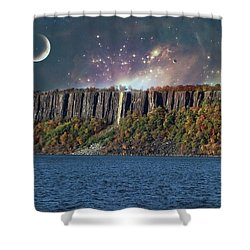 God's Space Over Planet Earth Shower Curtain