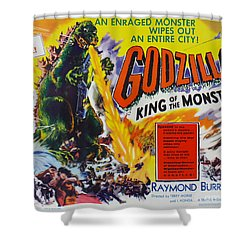 Godzilla King Of The Monsters An Enraged Monster Wipes Out An Entire City Vintage Movie Poster Shower Curtain