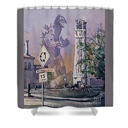 Shower Curtain featuring the painting Godzilla Smash Ncsu- Raleigh by Ryan Fox