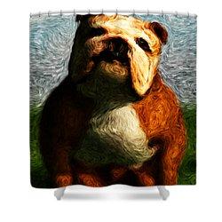 Shower Curtain featuring the digital art Gogh Dawgs... by Tim Fillingim
