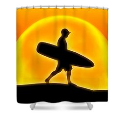 Goin' For A Surf Shower Curtain by Andreas Thust