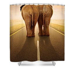Going Away Together / Travelling By Road Shower Curtain