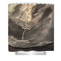 Going Down A Storm Shower Curtain