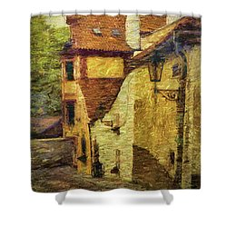Going Downhill And Round The Bend Shower Curtain