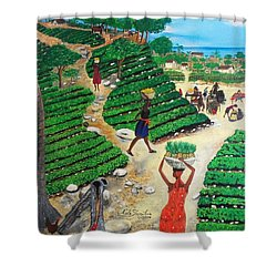 Shower Curtain featuring the painting Going To The Marketplace #4 -  Walking Through The Terraces by Nicole Jean-Louis