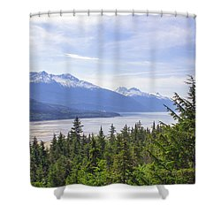 Going Up The Mountain Shower Curtain by Allan Levin