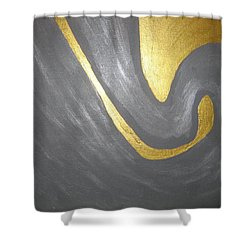 Gold And Gray Shower Curtain by Barbara Yearty