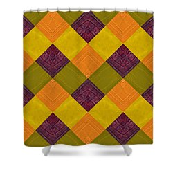 Gold And Green With Orange 2.0 Shower Curtain by Michelle Calkins