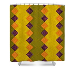 Gold And Green With Orange  Shower Curtain by Michelle Calkins