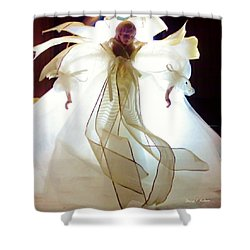 Gold And White Angel Shower Curtain