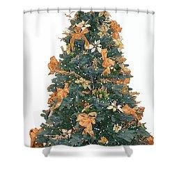 Gold Bow Xmas Card Shower Curtain