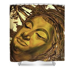 Shower Curtain featuring the painting Gold Buddha Head by Chonkhet Phanwichien