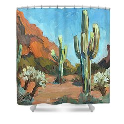 Shower Curtain featuring the painting Gold Canyon by Diane McClary