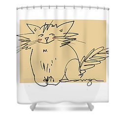 Gold Cat Shower Curtain