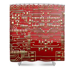 Gold Circuitry On Red Shower Curtain by Serge Averbukh
