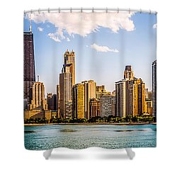 Gold Coast Chicago Skyline Panorama Shower Curtain by Paul Velgos