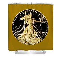 Gold Coin Front Shower Curtain by Phyllis Denton