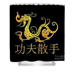 Gold Copper Dragon Kung Fu San Soo On Black Shower Curtain