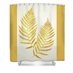 Shower Curtain featuring the mixed media Gold Fern Leaf Art by Christina Rollo