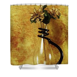 Gold Flowers In Vase Shower Curtain