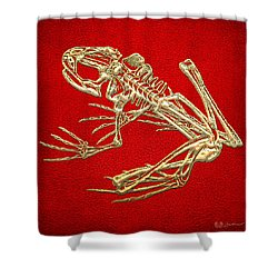 Gold Frog Skeleton On Red Leather Shower Curtain