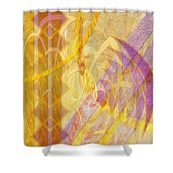 Gold Fusion Shower Curtain by John Beck