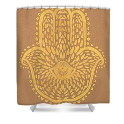 Gold Hamsa Hand On Brown Paper Shower Curtain