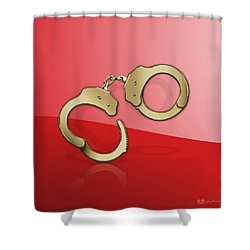 Gold Handcuffs On Red Shower Curtain