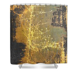Gold Industrial Abstract Christmas Tree Shower Curtain