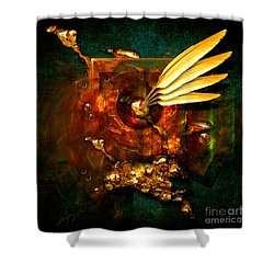 Shower Curtain featuring the painting  Gold Inkpot by Alexa Szlavics