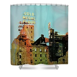 Shower Curtain featuring the photograph Gold Medal Flour Pop Art by Susan Stone