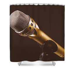 Gold Microphone Shower Curtain by Happy Home Artistry