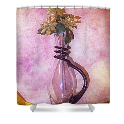 Gold On Pink Flowers Shower Curtain