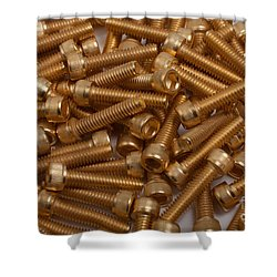 Gold Plated Screws Shower Curtain