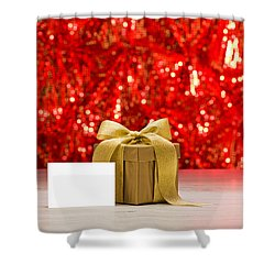 Shower Curtain featuring the photograph Gold Present With Place Card  by Ulrich Schade