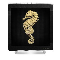 Shower Curtain featuring the digital art Gold Seahorse On Black Canvas by Serge Averbukh