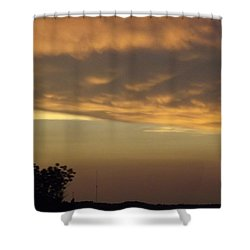 Gold Sky Over Lake Of The Ozarks Shower Curtain by Don Koester