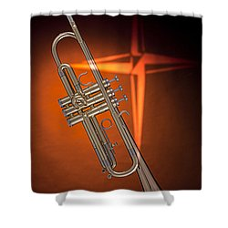 Gold Trumpet With Cross On Orange Shower Curtain by M K  Miller