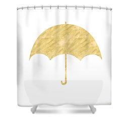 Gold Umbrella- Art By Linda Woods Shower Curtain by Linda Woods