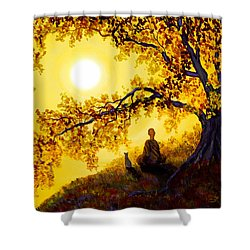 Golden Afternoon Meditation Shower Curtain by Laura Iverson