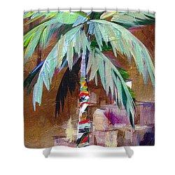 Golden Amethyst Palm Shower Curtain by Kristen Abrahamson